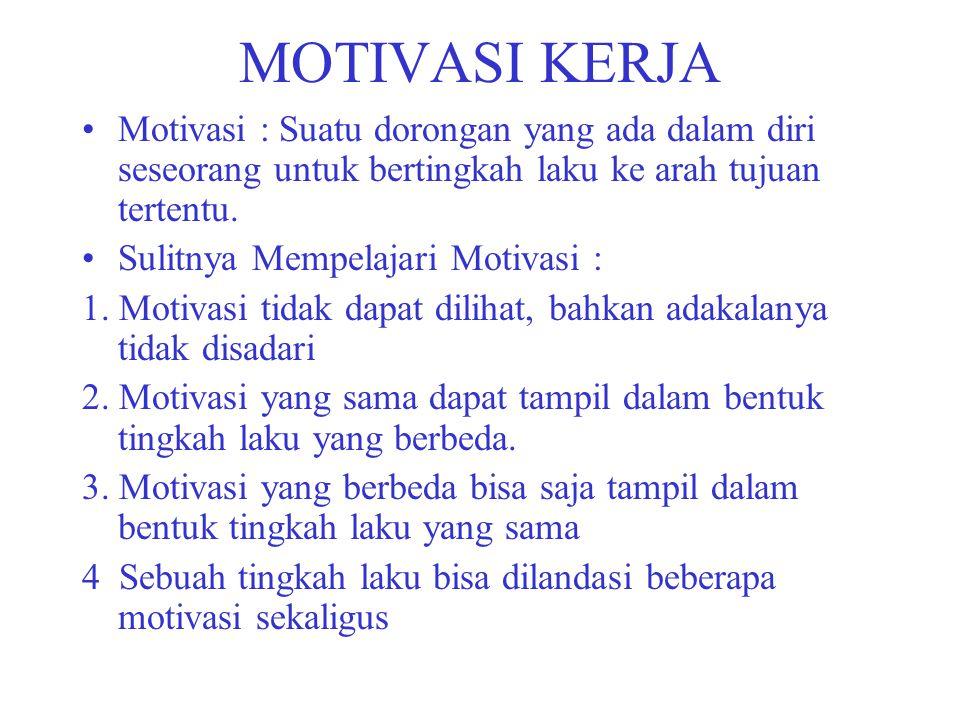 MOTIVASI KERJA Motivasi : Suatu dorongan yang ada dalam diri seseorang untuk bertingkah laku ke arah tujuan tertentu.