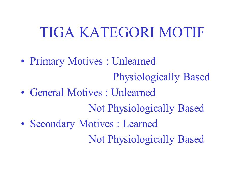 TIGA KATEGORI MOTIF Primary Motives : Unlearned Physiologically Based