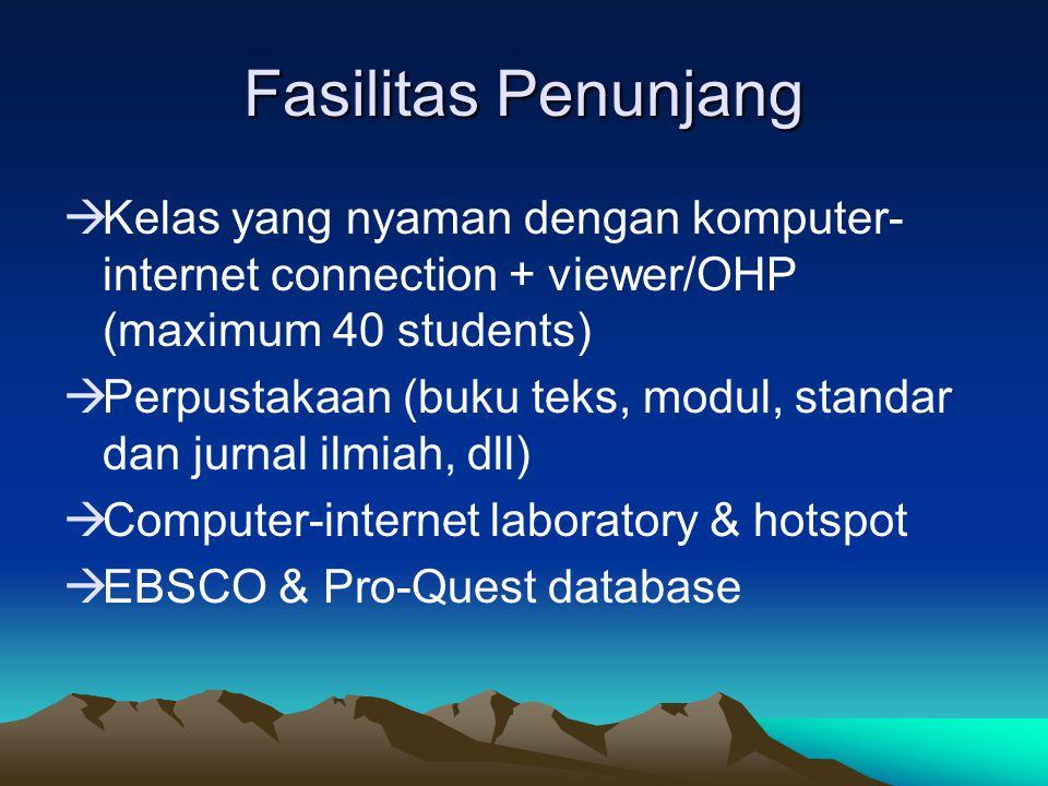 Fasilitas Penunjang Kelas yang nyaman dengan komputer-internet connection + viewer/OHP (maximum 40 students)