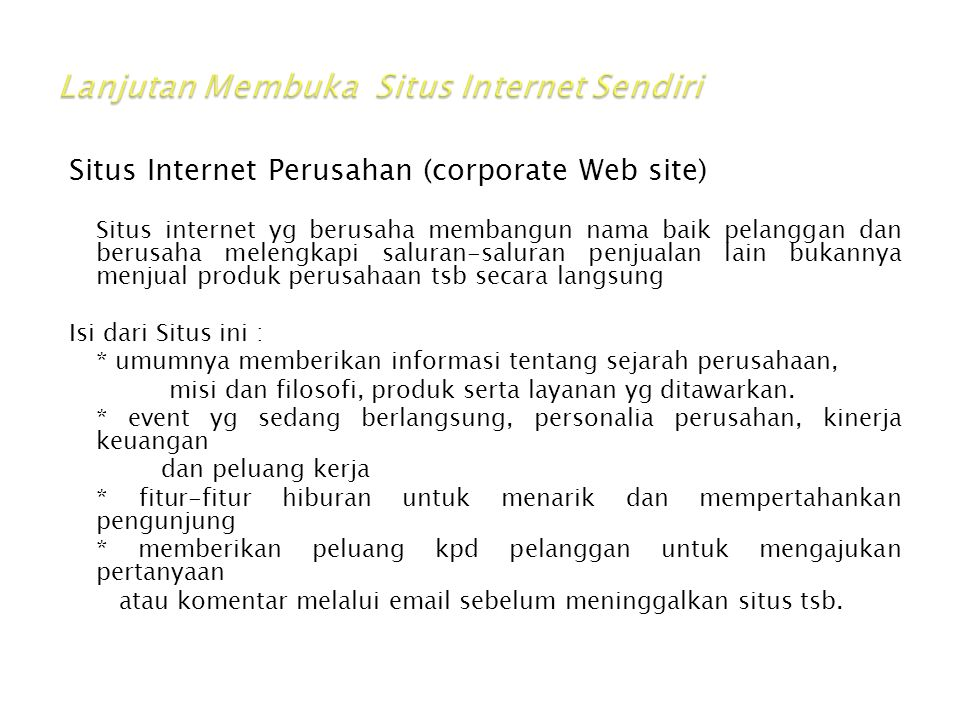 Lanjutan Membuka Situs Internet Sendiri
