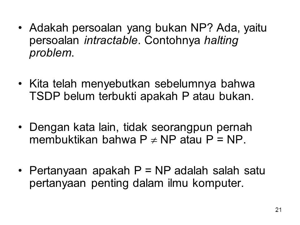 Adakah persoalan yang bukan NP. Ada, yaitu persoalan intractable