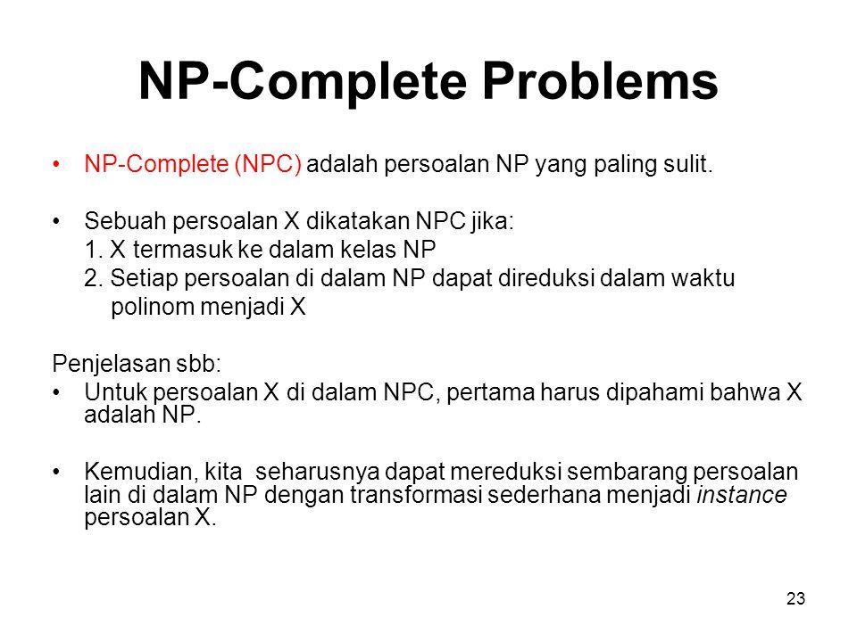 NP-Complete Problems NP-Complete (NPC) adalah persoalan NP yang paling sulit. Sebuah persoalan X dikatakan NPC jika:
