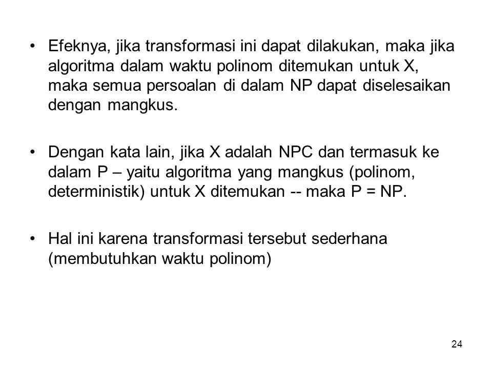 Efeknya, jika transformasi ini dapat dilakukan, maka jika algoritma dalam waktu polinom ditemukan untuk X, maka semua persoalan di dalam NP dapat diselesaikan dengan mangkus.