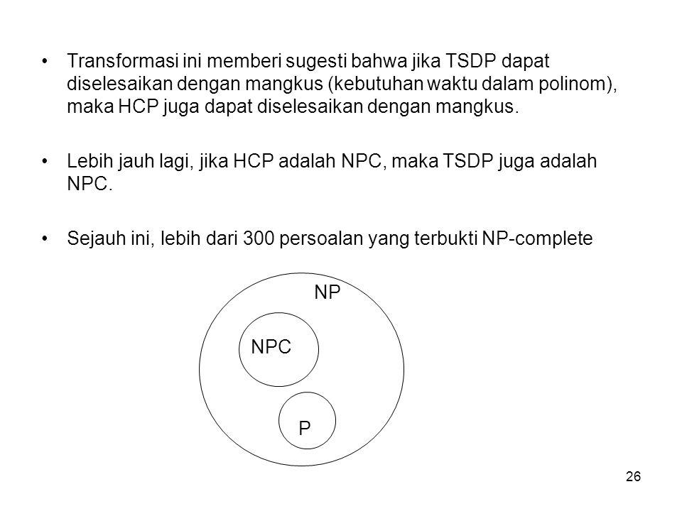 Transformasi ini memberi sugesti bahwa jika TSDP dapat diselesaikan dengan mangkus (kebutuhan waktu dalam polinom), maka HCP juga dapat diselesaikan dengan mangkus.