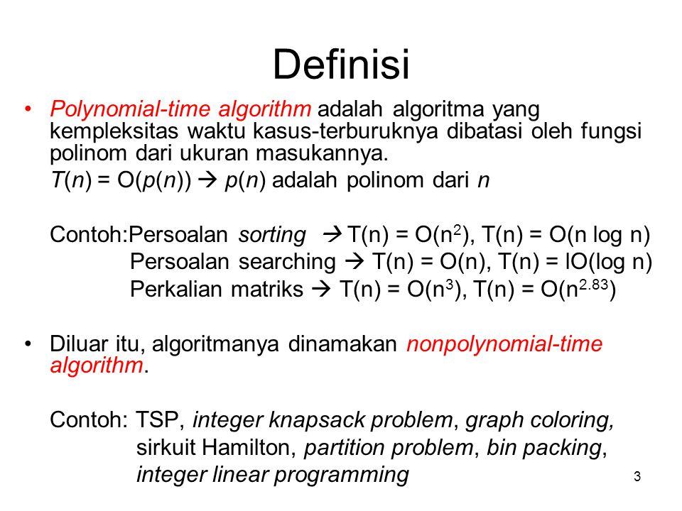 Definisi Polynomial-time algorithm adalah algoritma yang kempleksitas waktu kasus-terburuknya dibatasi oleh fungsi polinom dari ukuran masukannya.