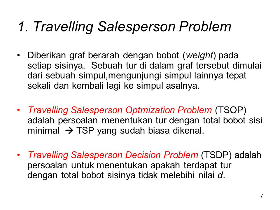 1. Travelling Salesperson Problem