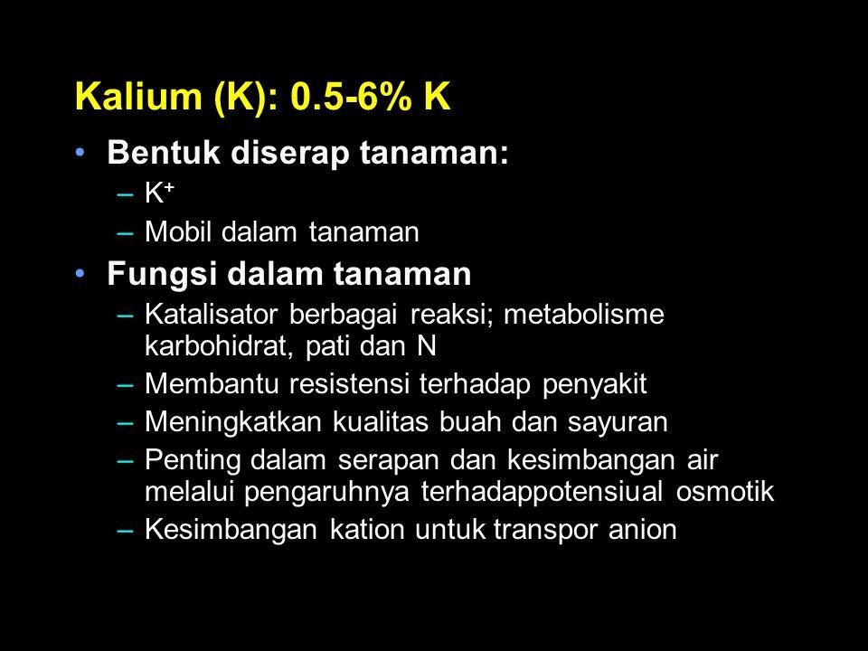 Kalium (K): 0.5-6% K Bentuk diserap tanaman: Fungsi dalam tanaman K+