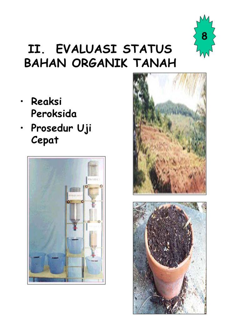 II. EVALUASI STATUS BAHAN ORGANIK TANAH
