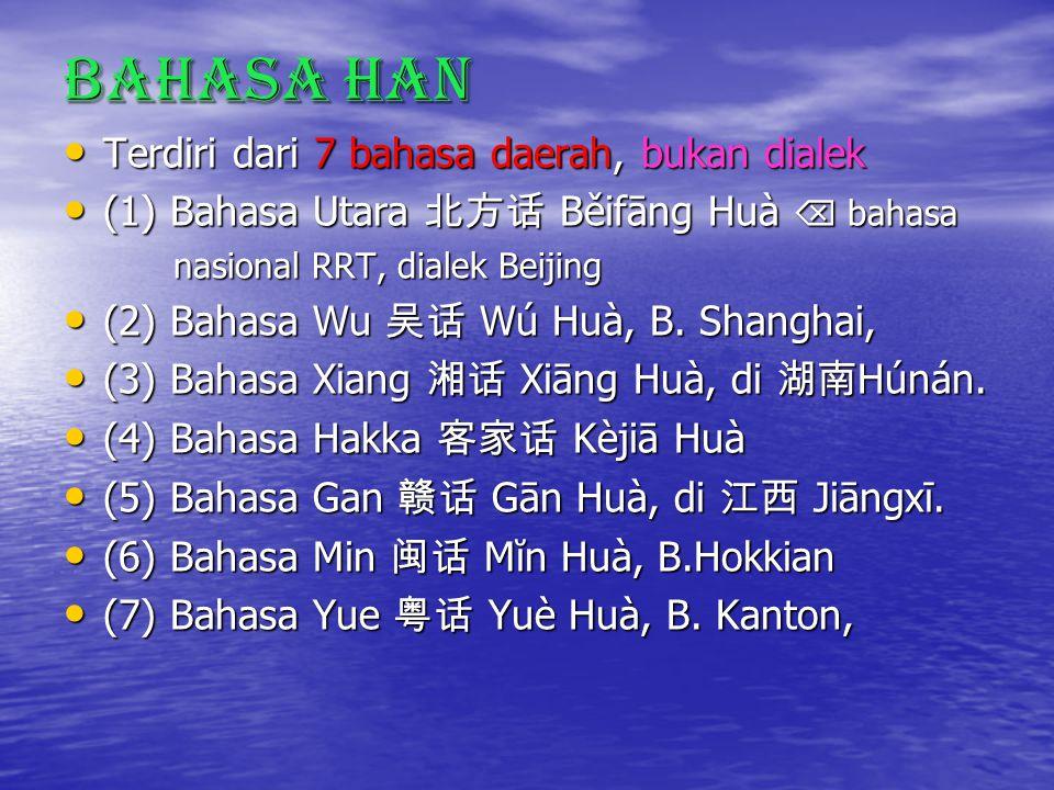 Bahasa Han Terdiri dari 7 bahasa daerah, bukan dialek