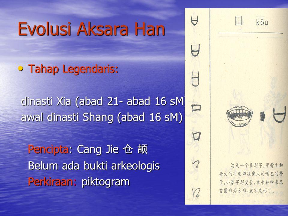 Evolusi Aksara Han Tahap Legendaris: dinasti Xia (abad 21- abad 16 sM)