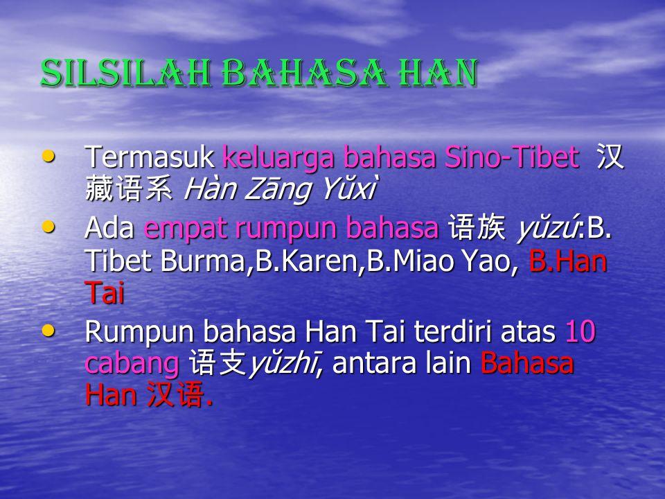 Silsilah Bahasa Han Termasuk keluarga bahasa Sino-Tibet 汉藏语系 Hàn Zāng Yŭxì.