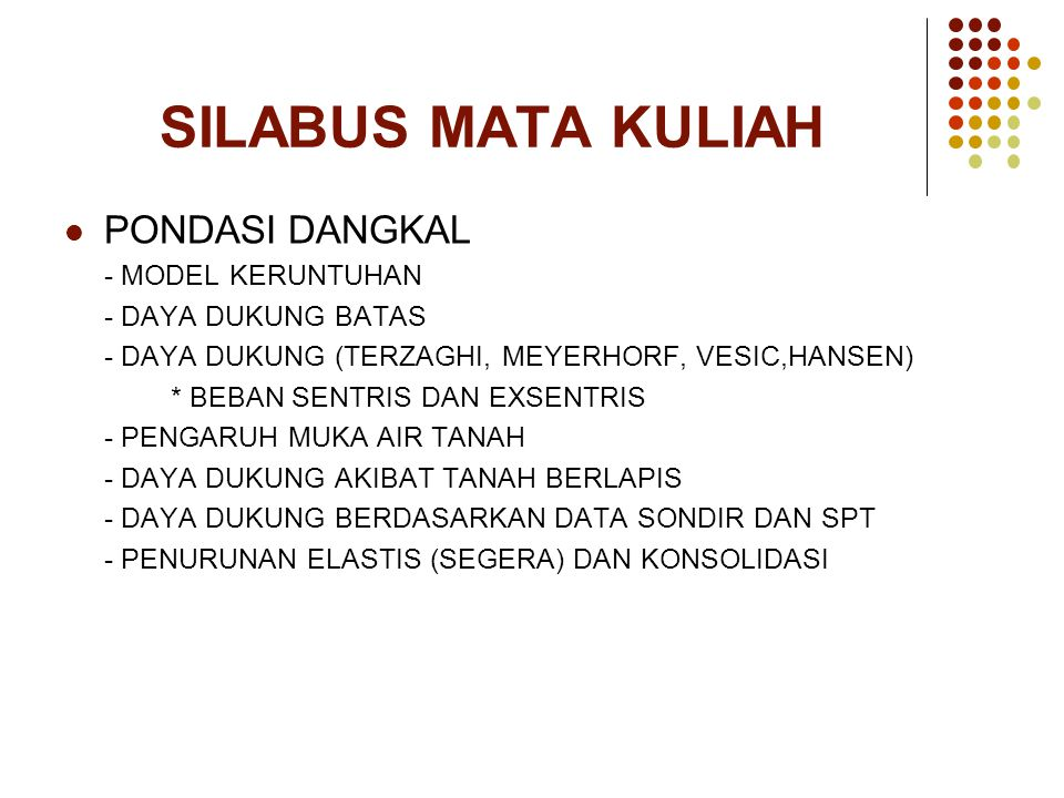 SILABUS MATA KULIAH PONDASI DANGKAL - MODEL KERUNTUHAN
