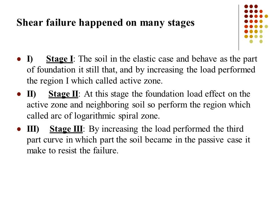 Shear failure happened on many stages