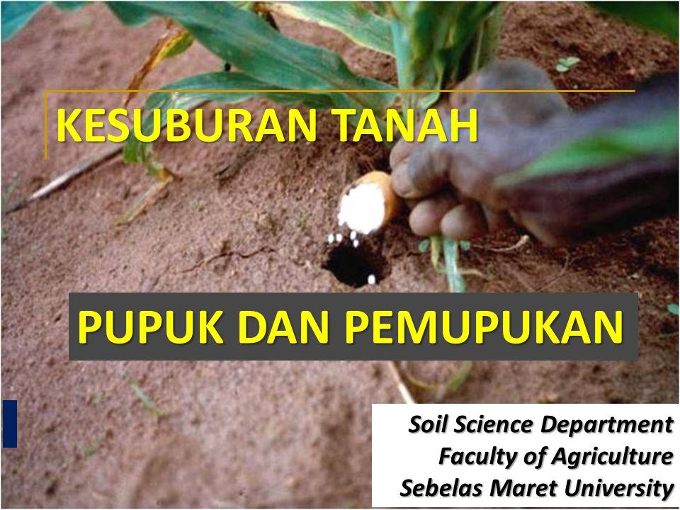 KESUBURAN TANAH PUPUK DAN PEMUPUKAN Soil Science Department