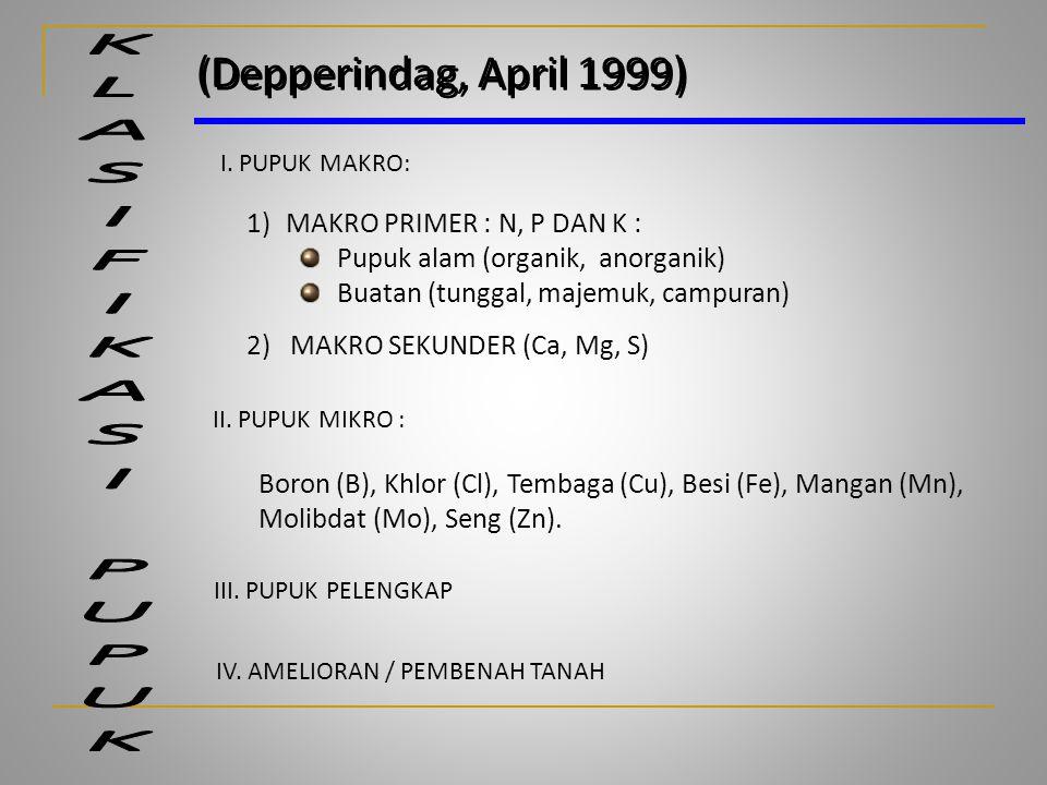 (Depperindag, April 1999) KLASIFIKASI PUPUK