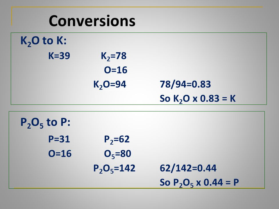 Conversions K2O to K: P2O5 to P: P=31 P2=62 K=39 K2=78 O=16