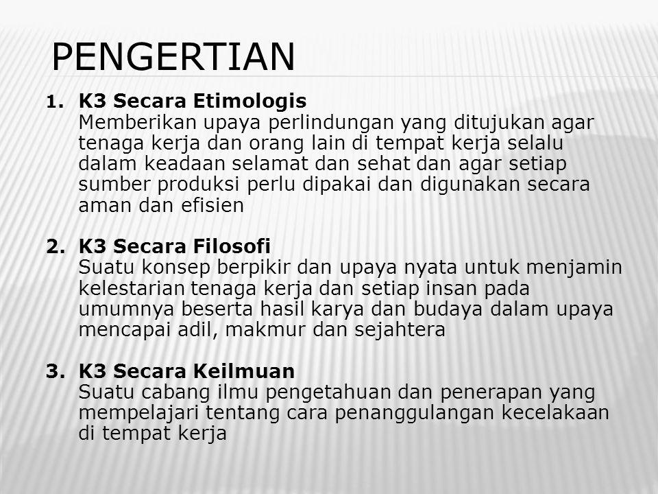 PENGERTIAN 1. K3 Secara Etimologis.