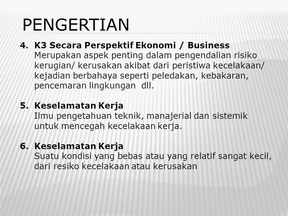 PENGERTIAN 4. K3 Secara Perspektif Ekonomi / Business.