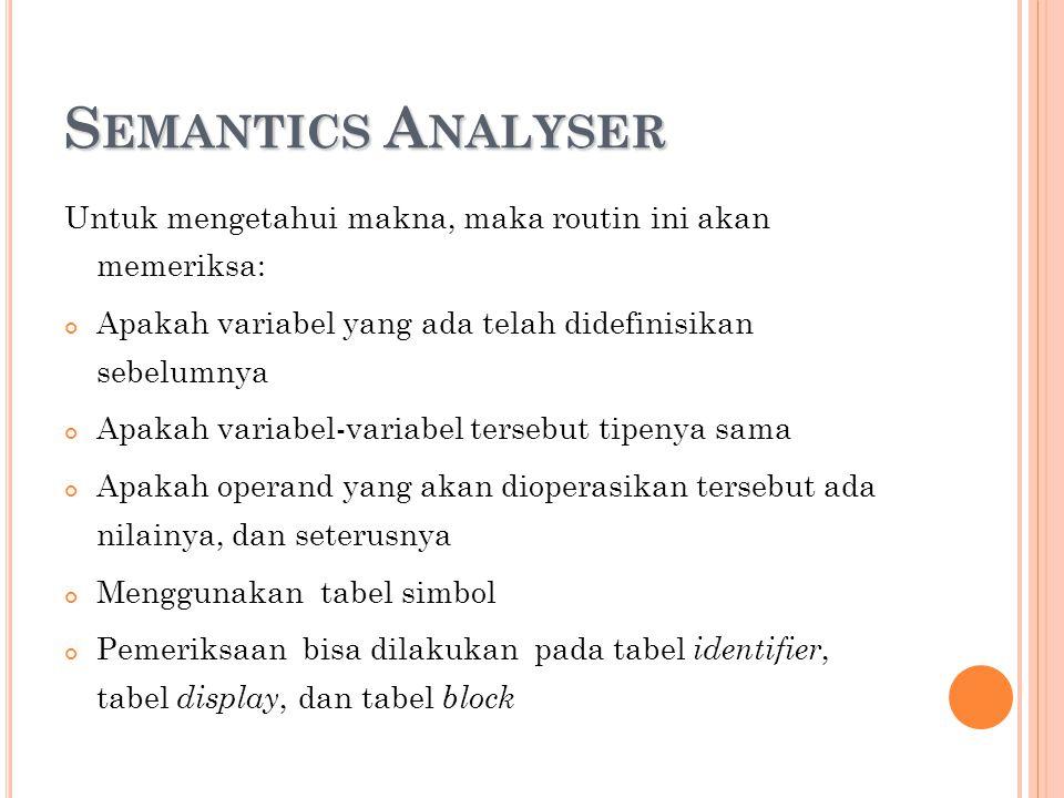 Semantics Analyser Untuk mengetahui makna, maka routin ini akan memeriksa: Apakah variabel yang ada telah didefinisikan sebelumnya.