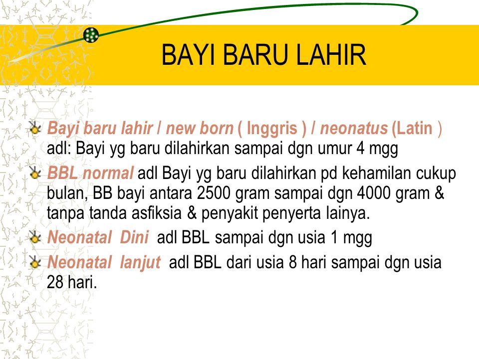 BAYI BARU LAHIR Bayi baru lahir / new born ( Inggris ) / neonatus (Latin ) adl: Bayi yg baru dilahirkan sampai dgn umur 4 mgg.