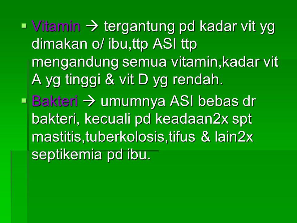 Vitamin  tergantung pd kadar vit yg dimakan o/ ibu,ttp ASI ttp mengandung semua vitamin,kadar vit A yg tinggi & vit D yg rendah.