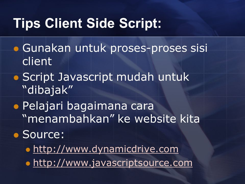 Tips Client Side Script: