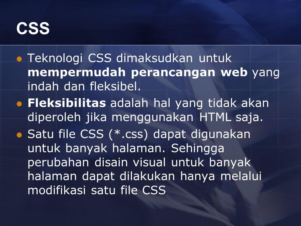CSS Teknologi CSS dimaksudkan untuk mempermudah perancangan web yang indah dan fleksibel.