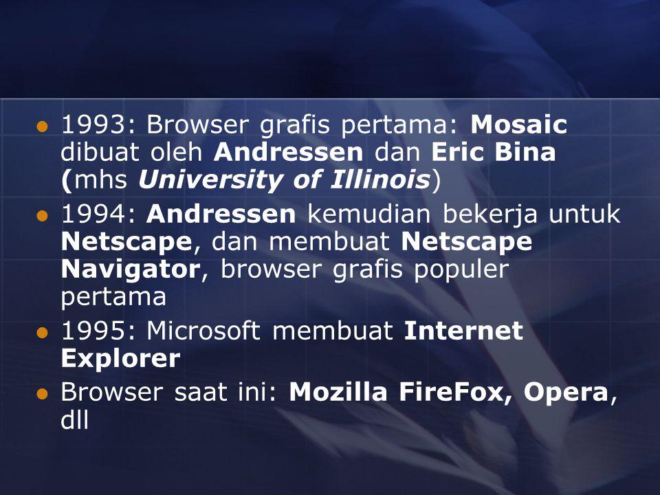 1993: Browser grafis pertama: Mosaic dibuat oleh Andressen dan Eric Bina (mhs University of Illinois)
