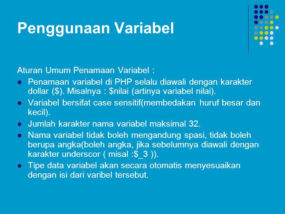 Penggunaan Variabel Aturan Umum Penamaan Variabel :