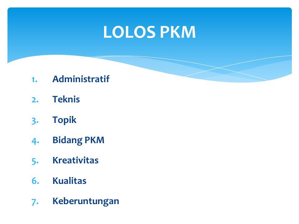 LOLOS PKM Administratif Teknis Topik Bidang PKM Kreativitas Kualitas