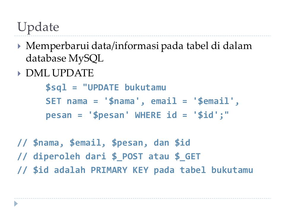 Update Memperbarui data/informasi pada tabel di dalam database MySQL