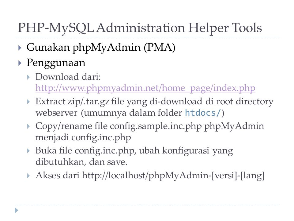 PHP-MySQL Administration Helper Tools