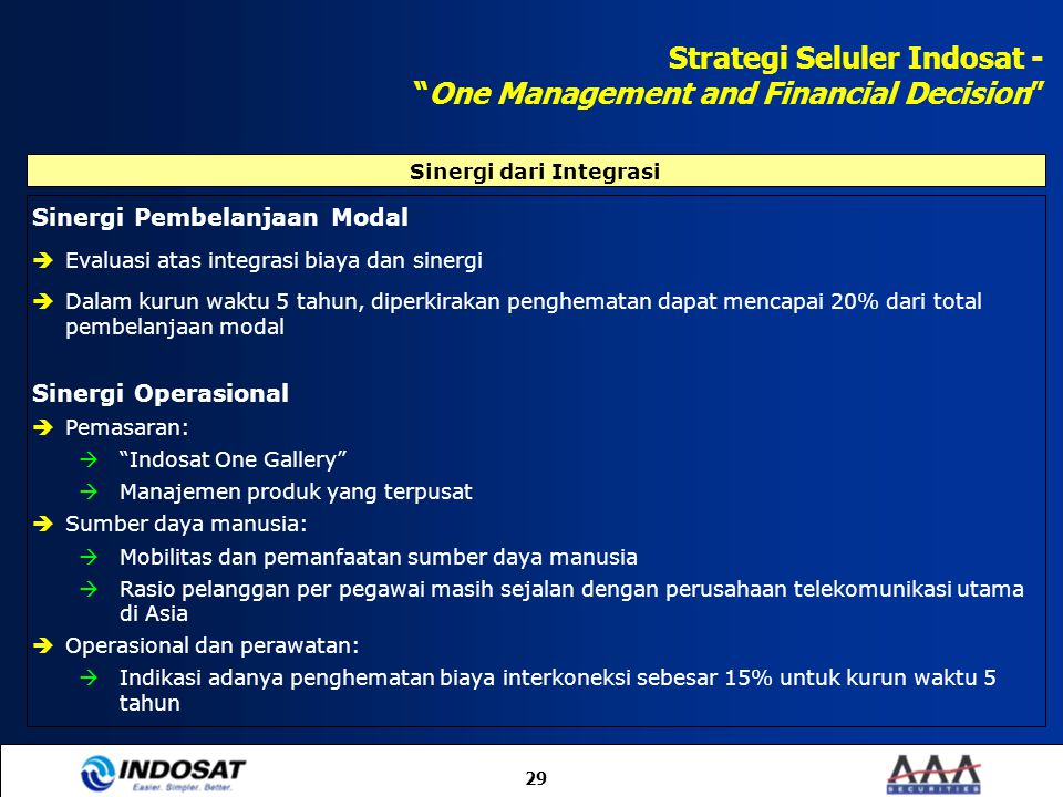 Strategi Seluler Indosat - One Management and Financial Decision