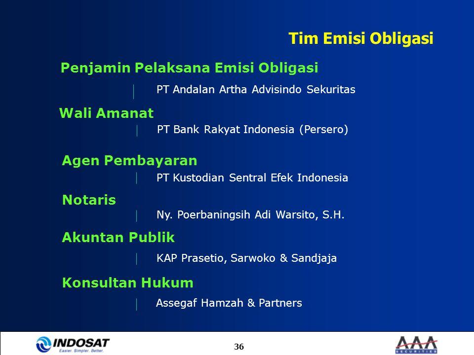 Tim Emisi Obligasi Penjamin Pelaksana Emisi Obligasi Wali Amanat