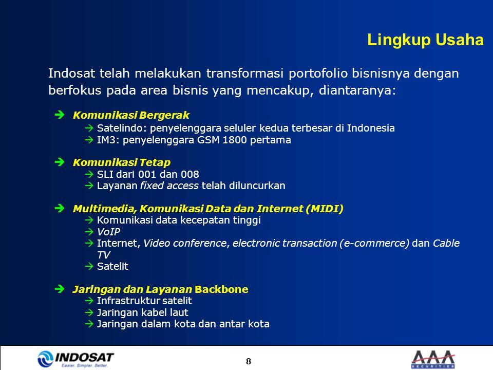 Lingkup Usaha Indosat telah melakukan transformasi portofolio bisnisnya dengan berfokus pada area bisnis yang mencakup, diantaranya: