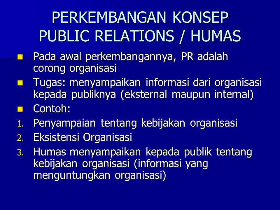 PERKEMBANGAN KONSEP PUBLIC RELATIONS / HUMAS
