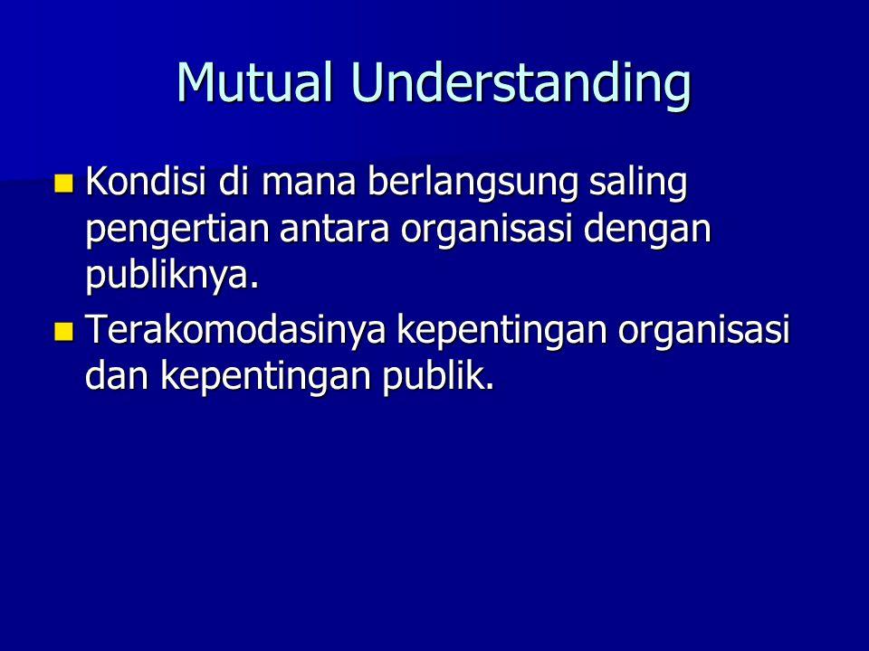 Mutual Understanding Kondisi di mana berlangsung saling pengertian antara organisasi dengan publiknya.