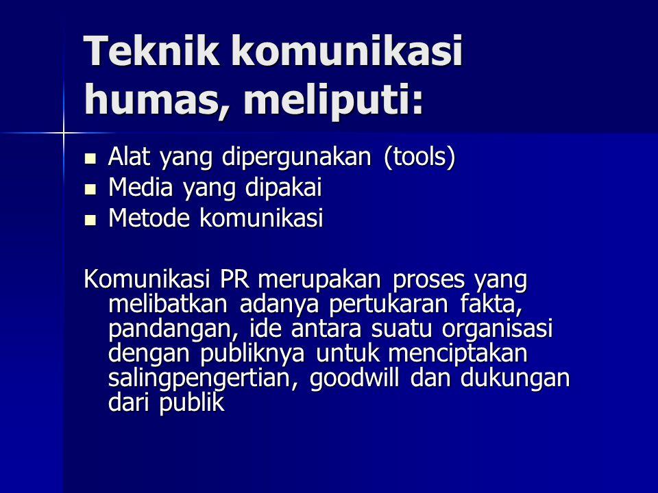 Teknik komunikasi humas, meliputi: