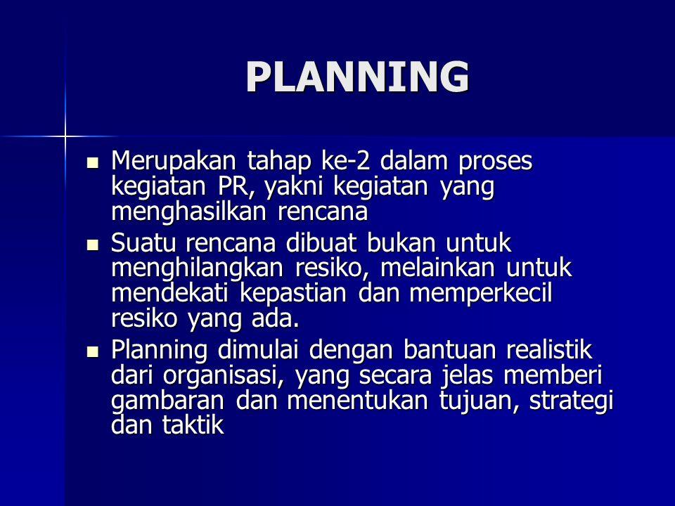 PLANNING Merupakan tahap ke-2 dalam proses kegiatan PR, yakni kegiatan yang menghasilkan rencana.