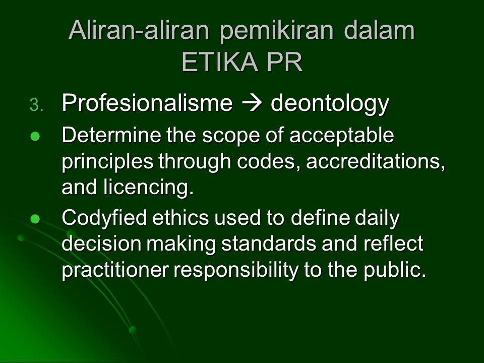 Aliran-aliran pemikiran dalam ETIKA PR