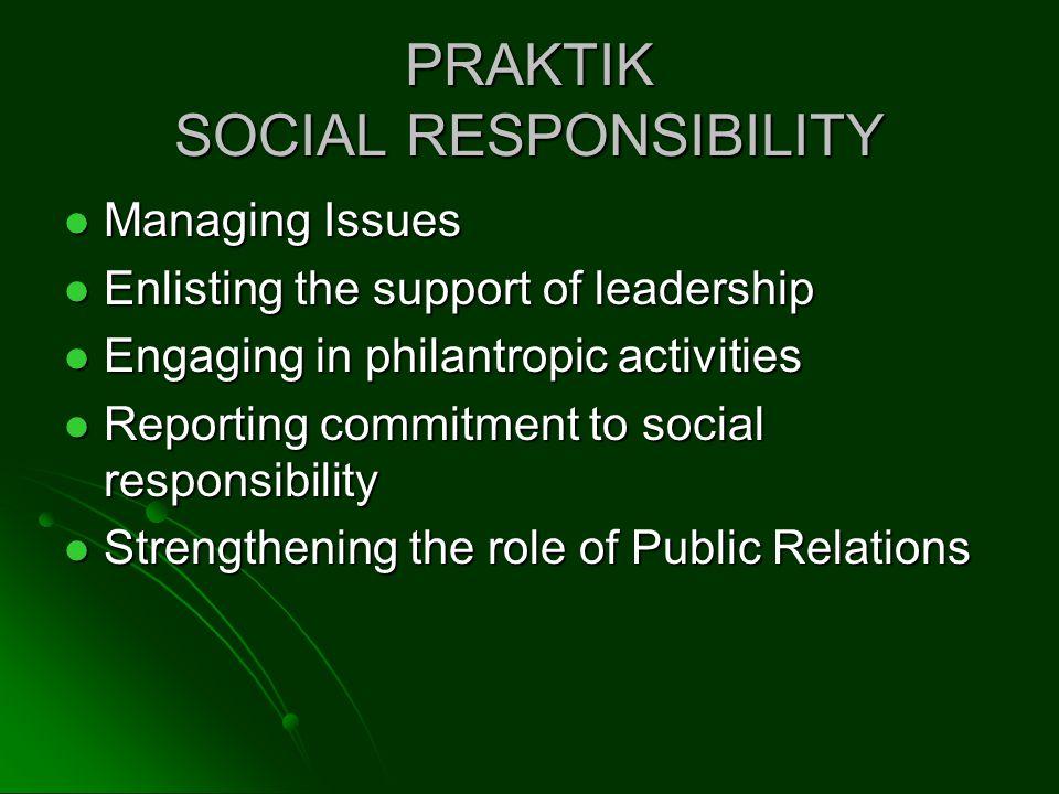 PRAKTIK SOCIAL RESPONSIBILITY