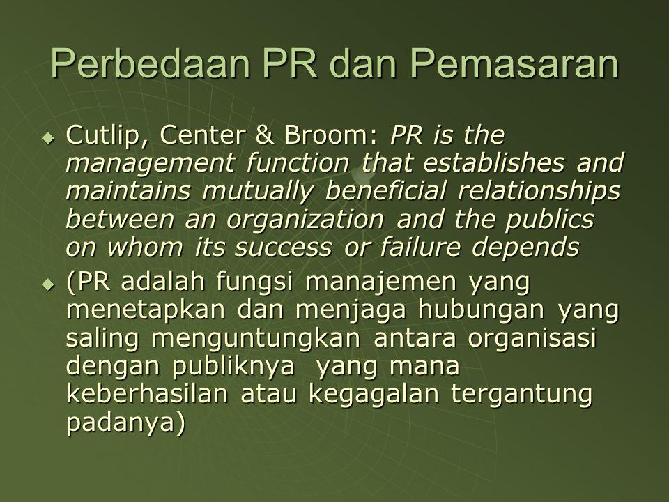 Perbedaan PR dan Pemasaran