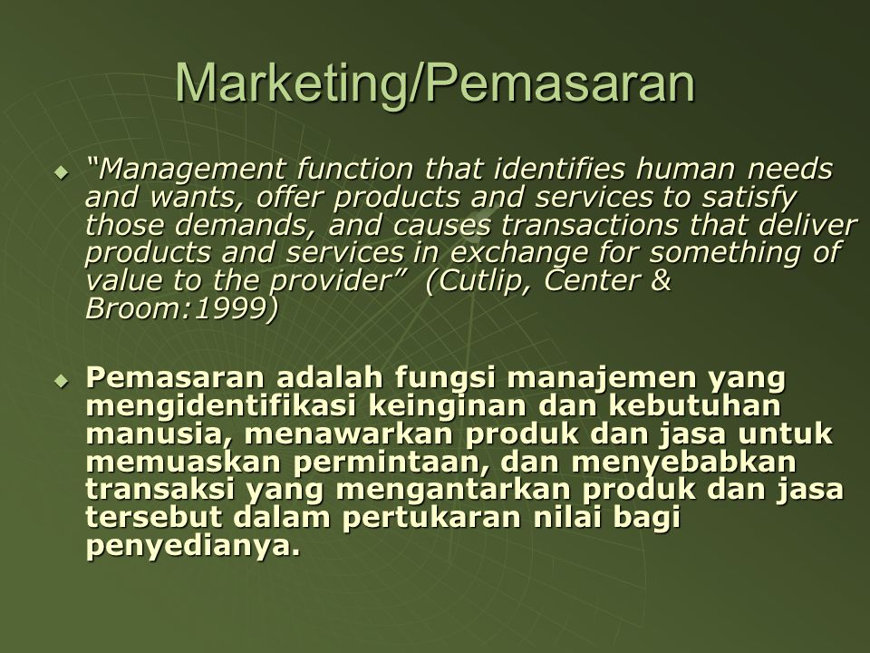 Marketing/Pemasaran