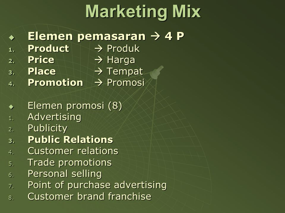 Marketing Mix Elemen pemasaran  4 P Product  Produk Price  Harga