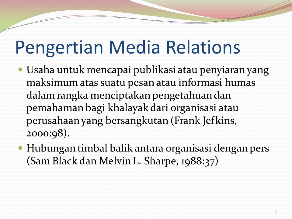 Pengertian Media Relations