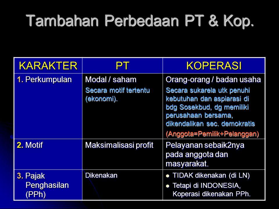 Tambahan Perbedaan PT & Kop.