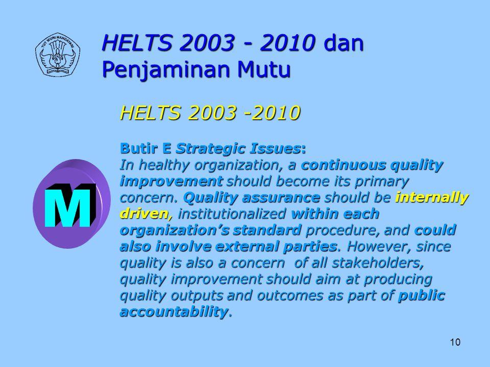 M HELTS 2003 - 2010 dan Penjaminan Mutu HELTS 2003 -2010