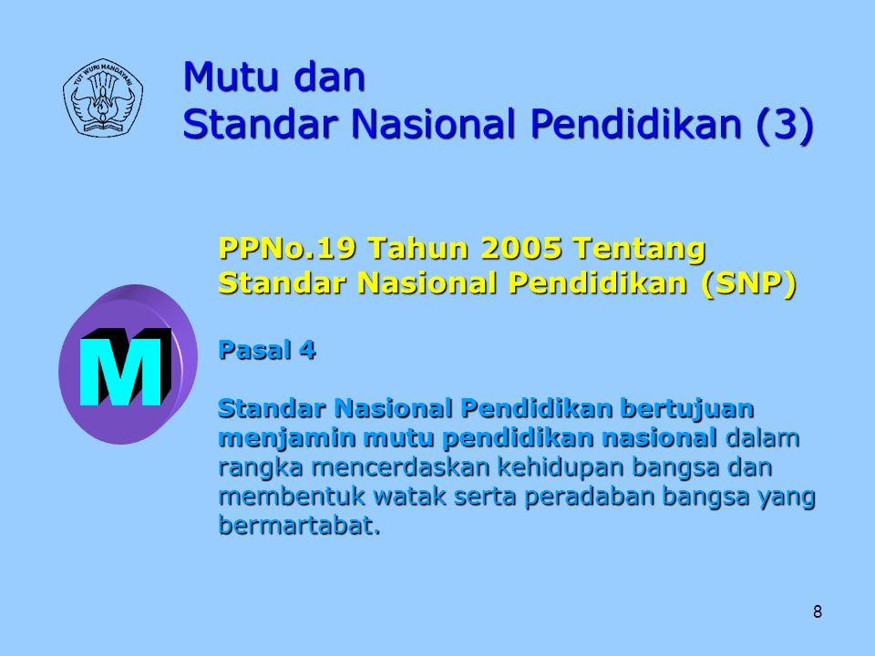 M Mutu dan Standar Nasional Pendidikan (3) PPNo.19 Tahun 2005 Tentang