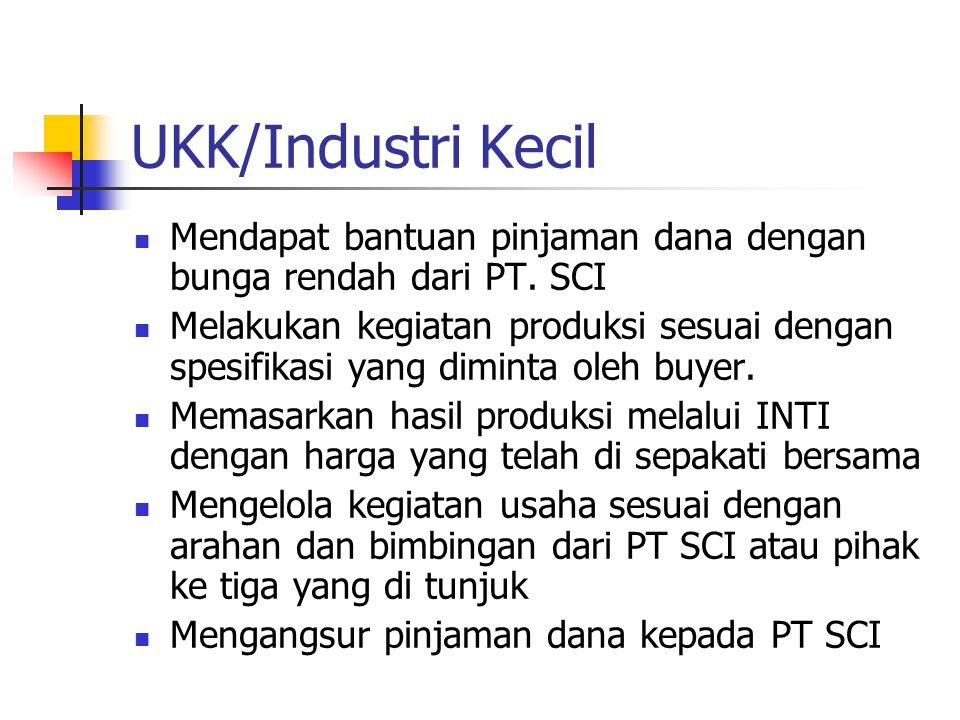 UKK/Industri Kecil Mendapat bantuan pinjaman dana dengan bunga rendah dari PT. SCI.