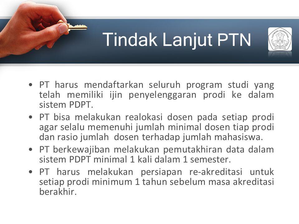 Tindak Lanjut PTN PT harus mendaftarkan seluruh program studi yang telah memiliki ijin penyelenggaran prodi ke dalam sistem PDPT.